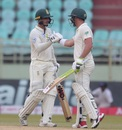 Quinton de Kock and Dean Elgar encourage each other during their fighting stand, India v South Africa, 1st Test, Visakhapatnam, Day 3, October 4, 2019