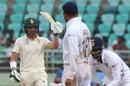 Dean Elgar acknowledges the applause upon reaching 150, India v South Africa, 1st Test, Visakhapatnam, Day 3, October 4, 2019