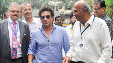 Sachin Tendulkar arrives at the Wankhede to cast his vote for the MCA polls