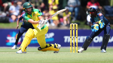 Meg Lanning sweeps as she top scores with 73 off 66 balls
