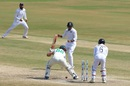 Theunis de Bruyn is bowled, India v South Africa, 1st Test, Visakhapatnam, 5th day, October 6, 2019