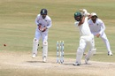 Dane Piedt guides one through point, India v South Africa, 1st Test, Visakhapatnam, 5th day, October 6, 2019