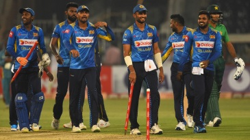 Sri Lanka's players get together after sealing the series