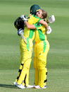Alyssa Healy gets a hug from Meg Lanning after reaching her century, Australia Women v Sri Lanka Women, 3rd ODI, Brisbane, October 9, 2019