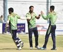 The Band-e-Amir Dragons players celebrate a wicket, Band-e-Amir Dragons v Mis Ainak Knights, Kabul, Shpageeza Cricket League, October 9, 2019
