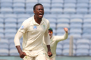 Kagiso Rabada roars after getting Cheteshwar Pujara's outside edge, India v South Africa, 2nd Test, Pune, 1st day, October 10, 2019