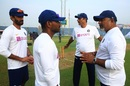 Vikram Rathour, R Sridhar, Ravi Shastri and Bharat Arun have a chat, India v South Africa, 2nd Test, Pune, 1st day, October 10, 2019