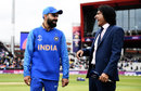 Virat Kohli shares a laugh with commentator Ramiz Raja, India v Pakistan, World Cup 2019, Manchester, June 16, 2019