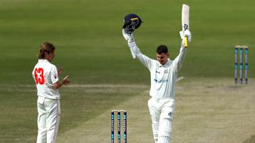 Nic Maddinson celebrates his maiden first-class double century