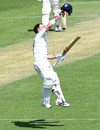 David Warner celebrates his century, Queensland v New South Wales, Sheffield Shield, Brisbane, October 11, 2019
