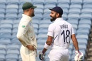 After being reprieved off a no-ball, Virat Kohli flashes a cheeky grin at a wry Aiden Markram, India v South Africa, 2nd Test, Pune, 2nd day, October 11, 2019