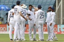 Umesh Yadav is congratulated by his team-mates after sending back Dean Elgar, India v South Africa, 2nd Test, Pune, 2nd day, October 11, 2019