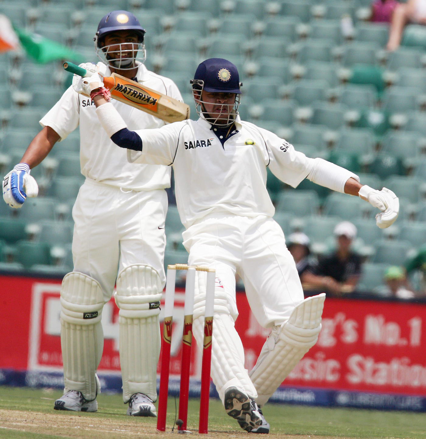 Clowns R Us: Sreesanth gets on his invisible pony after hitting a six off Andre Nel in Johannesburg in 2006