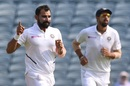 Mohammed Shami celebrates after dismissing Anrich Nortje,  India v South Africa, 2nd Test, Pune, 3rd day, October 12, 2019