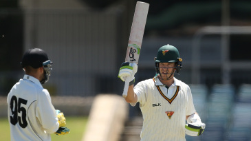 Tim Paine celebrates his second first-class century