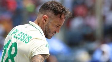 Faf du Plessis looks dejected after being dismissed