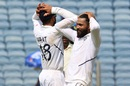 Ravindra Jadeja and Virat Kohli have their hands on their heads during the ninth-wicket stand,  India v South Africa, 2nd Test, Pune, 3rd day, October 12, 2019