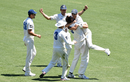 New South Wales team-mates celebrate with Harry Conway, Queensland v New South Wales, Sheffield Shield, Brisbane, October 13, 2019