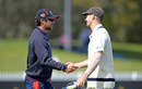 Peter Handscomb and Travis Head shake hands, Victoria v South Australia, Sheffield Shield, Junction Oval, October 13, 2019