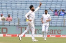 Ravindra Jadeja wheels away after taking a wicket,  India v South Africa, 2nd Test, Pune, 4th day, October 13, 2019