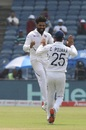 Ravindra Jadeja celebrates a wicket with Cheteshwar Pujara, India v South Africa, 2nd Test, Pune, 4th day, October 13, 2019