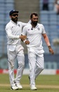Mohammed Shami is congratulated by Virat Kohli,  India v South Africa, 2nd Test, Pune, 4th day, October 13, 2019