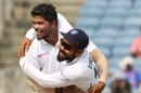 Umesh Yadav and Virat Kohli celebrate a wicket,  India v South Africa, 2nd Test, Pune, 4th day, October 13, 2019