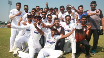 The jubilant Barisal team after their innings win over Sylhet