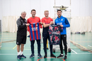 Kent cricketers Joe Denly and Sam Billings swap shirts with Crystal Palace manager Roy Hodgson and defender Joel Ward - October 2019