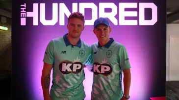 Jason Roy and Sam Curran at the launch of The Hundred