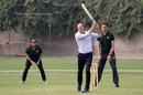 Prince Williams bats as Shaheen Shah Afridi and Sana Mir look on, Lahore, October 17, 2019