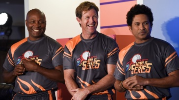 Brian Lara, Jonty Rhodes and Sachin Tendulkar at an event to promote the Road Safety World Series T20 cricket league