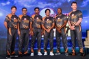 Jonty Rhodes, Virender Sehwag, Tillakaratne Dilshan, Sachin Tendulkar, Brian Lara and Brett Lee pose at an event to promote the Road Safety World Series T20 cricket league, Mumbai, October 17, 2019
