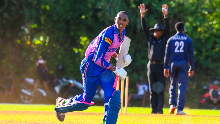 Deunte Darrell runs off after his six off Hayden Walsh Jr. clinched Bermuda's spot in the T20 World Cup Qualifier