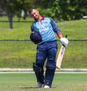 JP Kotze pumps his first after scoring Namibia's maiden ODI century, USA v Namibia, Cricket World Cup League Two, Lauderhill, September 20, 2019