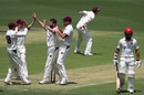 Michael Neser celebrates the wicket of Jake Weatherald, Queensland v South Australia, Day 1, Sheffield Shield, Round 2, October 18, 2019
