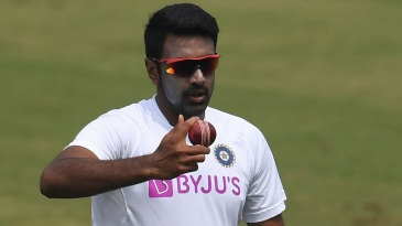 R Ashwin bowls during a practice session
