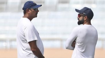 Ravi Shastri and Virat Kohli chat during a practice session