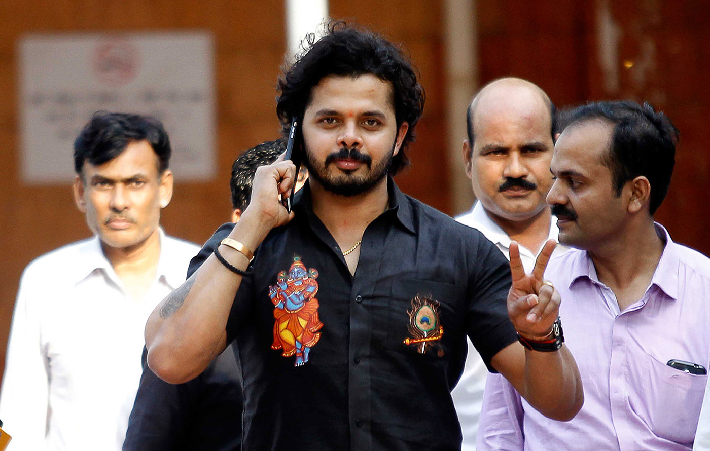 Sreesanth leaves the Patiala House court in Delhi in 2015 after charges against him were dropped