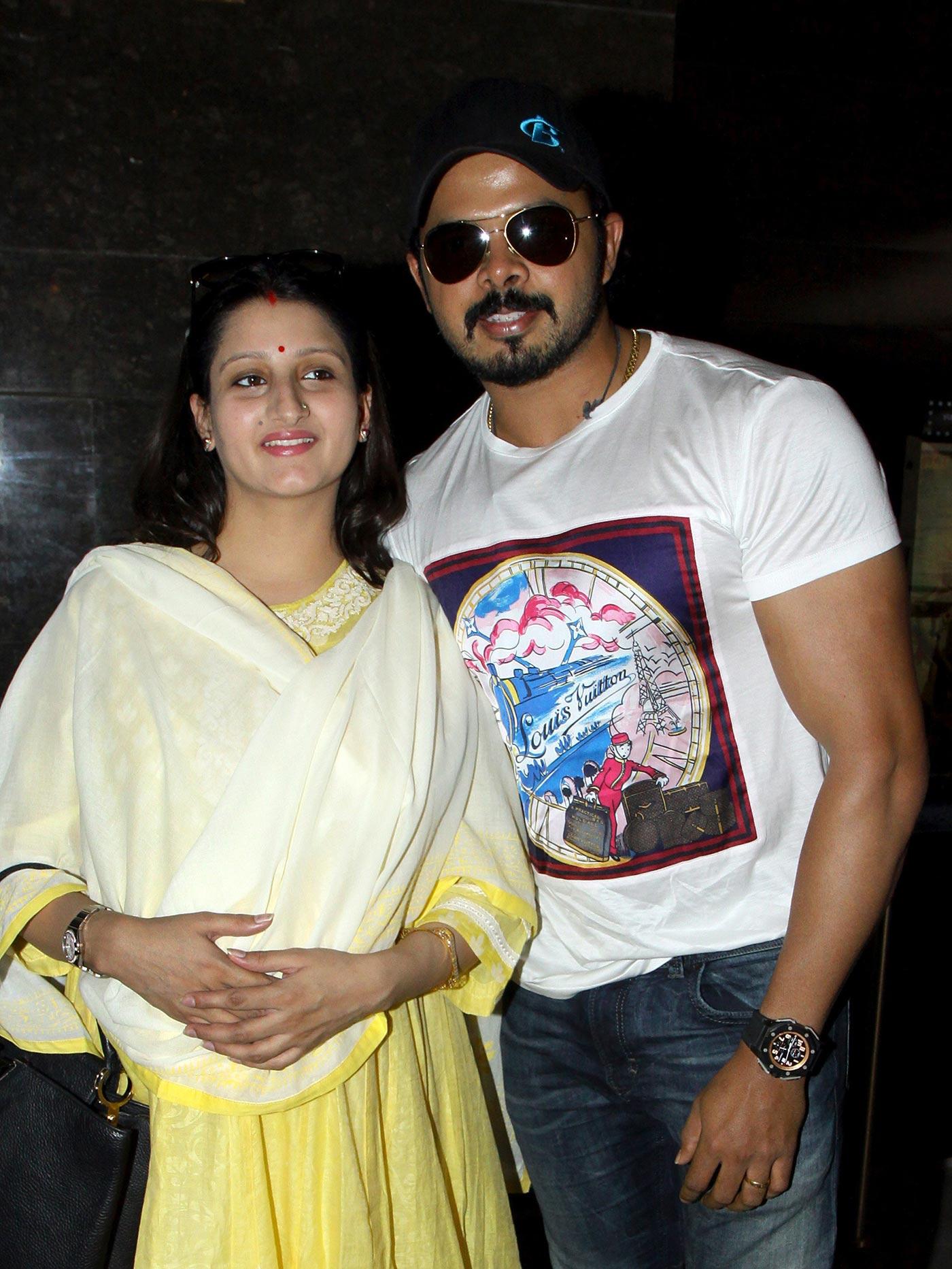 Sreesanth with his wife, Bhuvneshwari Kumari, at a film screening in 2015. Note bulging biceps