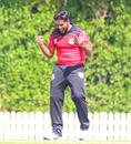Singapore captain Amjad Mahboob howls in delight after taking a wicket at the death, Scotland v Singapore, T20 World Cup Qualifier, Dubai, October 18, 2019