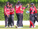 Singapore captain Amjad Mahboob erupts after the final ball, Scotland v Singapore, T20 World Cup Qualifier, Dubai, October 18, 2019