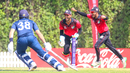 Singapore wicketkeeper Manpreet Singh begins celebrating after Scotland manages just two off the final ball, Scotland v Singapore, T20 World Cup Qualifier, Dubai, October 18, 2019
