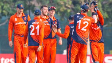 Paul van Meekeren celebrates after Fred Klaassen's catch gave him another wicket