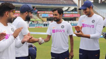 Shahbaz Nadeem was given his Test cap by Virat Kohli