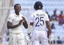 Kagiso Rabada convinces his captain to review a leg before against Cheteshwar Pujara, India v South Africa, 3rd Test, Ranchi, 1st day, October 19, 2019