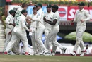 Anrich Nortje is mobbed by his team mates, India v South Africa, 3rd Test, Ranchi, 1st day, October 19, 2019