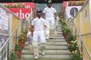 Rohit Sharma and Ajinkya Rahane walk out to bat, India v South Africa, 3rd Test, Ranchi, 2nd day, October 20, 2019