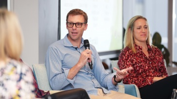 Drew Ginn speaks during the player parental leave launch in Sydney