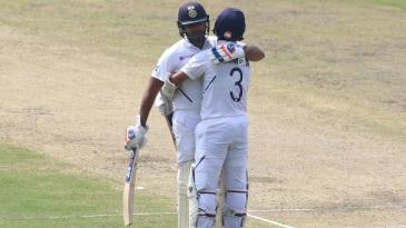 Rohit Sharma and Ajinkya Rahane embrace each other